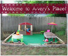 DIY Outdoor Play Space – Avery's Place! – sweet lil you Easy DIY Outdoor Play Space! Create your own clean and safe outdoor play space for your kids! Outdoor Play Spaces, Kids Outdoor Play, Kids Play Area, Backyard For Kids, Backyard Projects, Diy For Kids, Kids Yard, Outdoor Fun, Diy Outdoor Toys