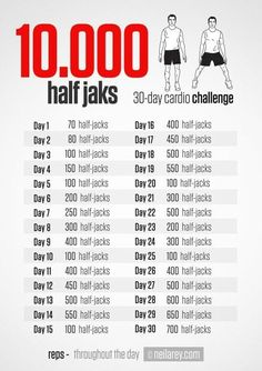 Neila Rey provides us with the 10000 Half Jaks 30 Day Cardio Challenge 30 Day Fitness, Health Fitness, 30 Day Cardio Challenge, Burpee Challenge, 2017 Challenge, Neila Rey Workout, I Work Out, At Home Workouts, Hero Workouts