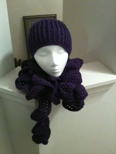 Purple Sparkle Winter Set (beanie & ruffle scarf) $45, made to order