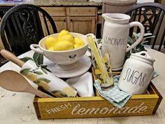 Rae Dunn lemonade pitcher display