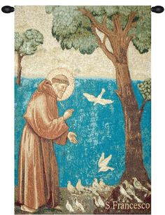 Woven in Italy History: St. Francis Preaching to the Birds is an Italian jacquard wall tapestry. The original artwork comes from Sermon to the Birds completed in 1297 by Italian painter Giotto di Bond