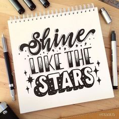 """646 Likes, 29 Comments - Ora Siripin (@oraarts) on Instagram: """"~Shine like the stars!~⭐️️✨ Day 20 of #letteringwithpositivity . . And 22/365 of my project!!!…"""""""