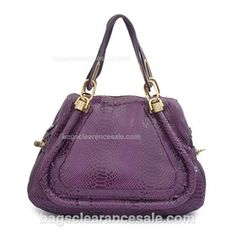 Chloe A Grade Paraty Python Veins PU Leather Shoulder Bag - Purple    $109.00