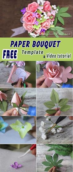 Free template and tutorial to make paper rose bouquet, rose paper bouquet, paper rose bridal bouque, #paperflower, #bridalbouquet #paperrose #paperrosebouquet