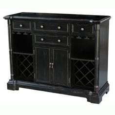 Hand-painted Distressed Black Finish Accent Wine Bar Chest / nice distressing and hardware