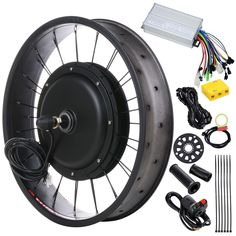 Kit includes motorized wheel (without tire), motor controller, thumb throttle…