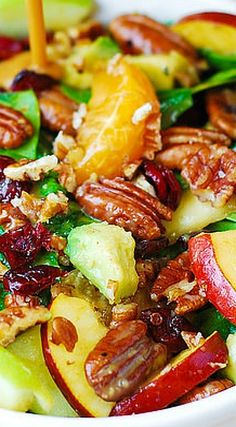 Apple Cranberry Spinach Salad with Pecans, Avocados (and Balsamic Vinaigrette…