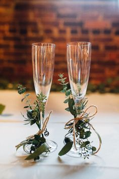 Bride + groom glass idea - champagne flutes with greenery + twine {Cameron Reynolds Photograph}