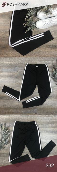 "Striped Fitness Leggings Adorable black and white stripped athletic leggings! Great for the gym or out for brunch! 90% polyester, 10% spandex. Measurements: S/ length- 32"", M/ length-32.5"". C-11 Pants Leggings"