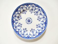 Antique French Faience Plate Sarreguemines Blue by FoxberryHill