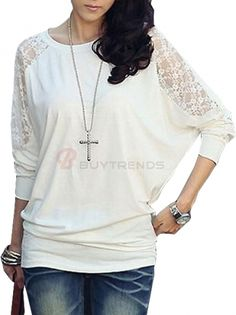 women's Round Collar Batwing Sleeve with Lace Hollow-out Elastic Shirt White on buytrends.com