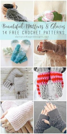 fingerless gloves crochet pattern | crochet mittens | crochet gloves | free crochet patterns | Use these crochet patterns to make a set of fingerless gloves or mittens. These free crochet patterns will have your fingers nice and toasty in no time! Bonnet Crochet, Bag Crochet, Crochet Gratis, Crochet Diy, Crochet Socks, Crochet Scarves, Crochet Ideas, Crochet Beanie, Crotchet