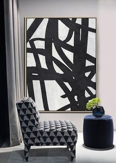 Black and white abstract art minimalist painting on canvas #MN22B, modern art by CZ ART DESIGN @CelineZiangArt