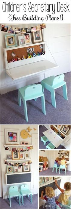 Wall-mounted Secretary Desk for kids... like a murphy table with storage inside! {Sawdust and Embryos} #Kidsrooms