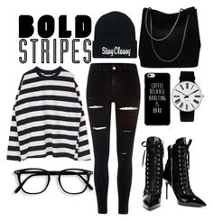"""bold stripes"" by dareenka ❤ liked on Polyvore featuring River Island, Giuseppe Zanotti, Gucci and Rosendahl"