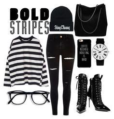 """bold stripes"" by dareenka ❤ liked on Polyvore featuring River Island, Giuseppe Zanotti, Gucci and Rosendahl"