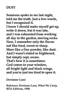 Dorianne Laux, Dust 💞🌍🌎🌏💞Reference: Dorianne Laux, What We Carry, BOA Editions, Writing Quotes, Poetry Quotes, Words Quotes, Wise Words, Sayings, Pretty Words, Beautiful Words, Book Of Poems, New Beginning Quotes