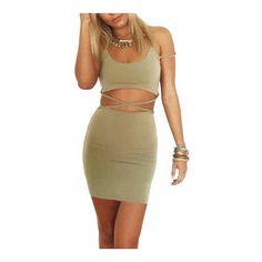 Cross Back Body-Conscious Dress ($18) ❤ liked on Polyvore featuring dresses, body conscious dress, cross back bodycon dress, body con dress, brown dress and bodycon dress