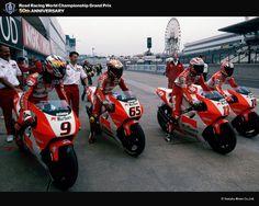 Yamaha MotoGP Team 1996: #9 Nori Abe, #65 Loris Capirossi, #12 J.M. Bayle, #10 Kenny Roberts Jr.