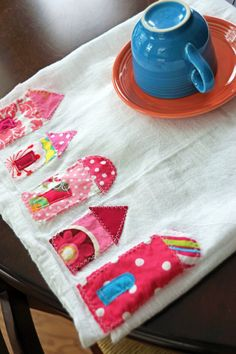 Little Pink Houses Appliqued Flour Sack Tea Towel