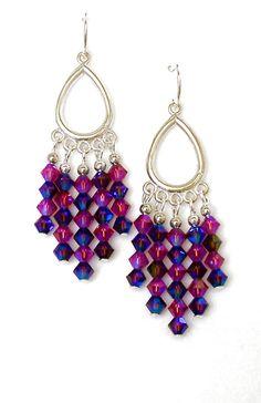 Crystal Chandelier Earrings, Burgundy-Blue