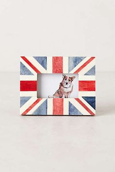 Union Jack Frame by Anthropologie in Red Motif Size: Union Jack Decor, Union Flags, Engineered Hardwood, Travel Themes, Decorating On A Budget, Elle Decor, Chicago Cubs Logo, Picture Wall, Picture Frames