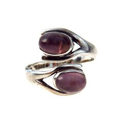 Amethyst Sterling Vintage Mexican Ring Modernist