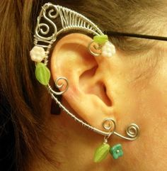 Pair of Silver Woven Wire Spring Elf Ear Cuffs with Czech Glass Flowers and Leaves Renaissance, Elven by MerlinsApprentice