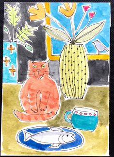 Signed Original ACEO Watercolour -Fish and Cat- by Annabel Burton Fun Art, Cool Art, Pen And Watercolor, Contemporary Art, Kids Rugs, Create, Pictures, Quotes, Books