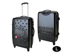 Hello Kitty Zip Around Travel Carry Bag Suitcase Heart Black Large Size TSA