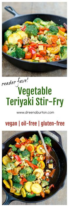 "Reader FAVORITE - ""better than takeout"" Vegetable Teriyaki Stir-Fry #vegan #glutenfree #oilfree www.dreenaburton.com"
