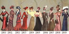 Edwardian Dress-timeline-1900-to-1909. The silhouette moved gradually along a decreasing s-curve from 1901 to the Empire line by 1910 .