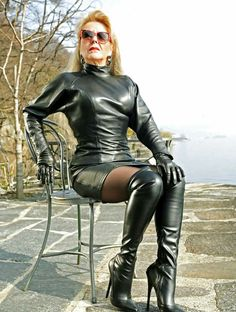 Mature dominatrix leather boots think