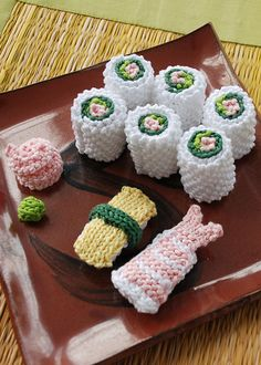 Sushi set knithack. Look at the cute little knit wasabi and ginger!!