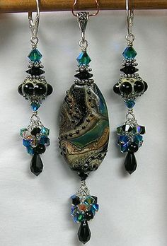 Earrings made with my beads.