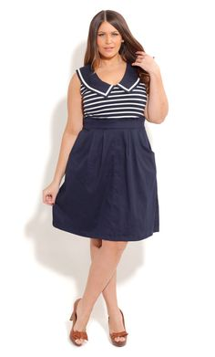 City Chic HELLO SAILOR DRESS  - Plus Size Fashion