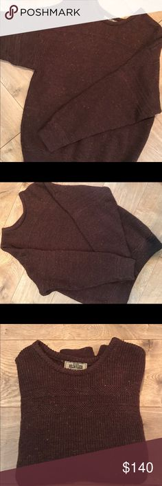 """Men's Hillwalker Kennedy of Andara sweater Wool sweater Kennedy of Ardara, """"The Hillwalker, """" Irish Wool Sweater  Size: Med/large   Hand knit in Donegal, Ireland. Pure new Wool.  Kennedy Irish Sweaters are renowned for their Aran Hand-Knits. 100% Wool (Donegal Yarns). 100% Hand Knit in Ireland. 100% Irish. Kennedy of Ardara began producing aran hand knit sweaters in 1902 and that heritage has been valued all over the world since then. Sweaters"""