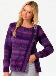 """Knitting pattern for asymmetric cardigan with an unusual side fastening by James C. Brett designed for multi-color yarn. Knitted in stocking stitch with a chunky rib on the neck, cuffs and waistband, this round necked cardigan fastens with 3 large buttons on the left. Instructions are to fit bust 28/30"""" – 44/46"""" (71/76cm-112/117cm) affiliate link tba"""