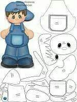 Paper piecing or appliqué idea ¥ Paper Piecing Patterns, Felt Patterns, Felt Dolls, Paper Dolls, Foam Crafts, Paper Crafts, Scrapbook Patterns, Baby Boy Cards, Felt Animals