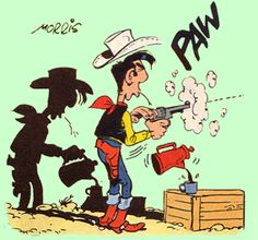 Lucky Luke tire (toujours) plus vite que son ombre Lucky Luke, Bd Comics, Funny Comics, Comic Book Characters, Comic Books, Serpieri, Cartoon Crazy, Looney Tunes Cartoons, Jean Giraud