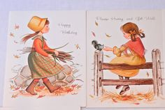 Set of 6 Fall Child Themed Greeting Cards by CandyAppleCrafts