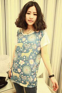 Blue Sweet Fawn Printed Korean T-Shirt