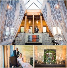 Skylights, fireplaces and cream city brick make for a unique and cozy space. Onesto is an awesome Milwaukee wedding venue. Photo by Reminisce Studio / Styling by Evenement / Floral by Jane Kelly / Calligraphy by Hadassah / Printing by Coqui Paperie