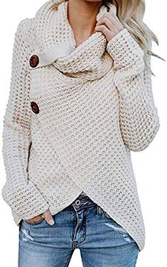 Shop the latest collection of Famulily Womens Waffle Knit Sweater Long Sleeve Buttoned Cowl Neck Wrap Pullover Tops from the most popular stores - all in one place. Similar products are available. Street Style Outfits, Mode Outfits, Sweater Coats, Pullover Sweaters, Asymmetrical Sweater, Asymmetrical Design, Knitted Coat, Wrap Cardigan, Long Sweaters
