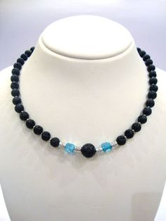 Santorini Natural Black Volcanic Greek Lava Stones 8 mm Necklace -  Crystal & Metal Beads - 46 cm - 18 inches on Etsy, 42,00€