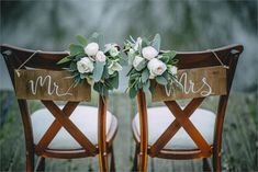 FESTIVAL BRIDES Wedding Table Decor Inspiration For An Outdoor Bohemian Wedding in the British Countryside - Mr and Mrs calligraphy chair signs Wedding Chair Decorations, Wedding Chairs, Wedding Themes, Wedding Table, Wedding Chair Signs, Wedding Dresses, Winter Wedding Flowers, Boho Wedding, Rustic Wedding