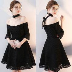 ドレス-ミニ・ミディアム オフショルダー セクシーパーティードレス 黒 ブラック 衣装