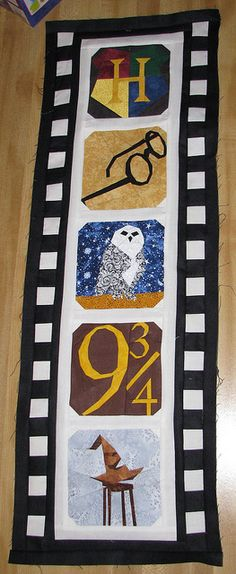 Harry Potter patterns from http://fandominstitches.com and Classic Film (filmstrip) from http://sewhooked.com