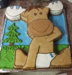 Moose Baby Shower Cake