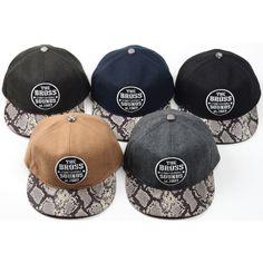 H65 Wool Snapback Snake Leather Brim Club Baseball Camp Cap HipHop Bill Flat Hat